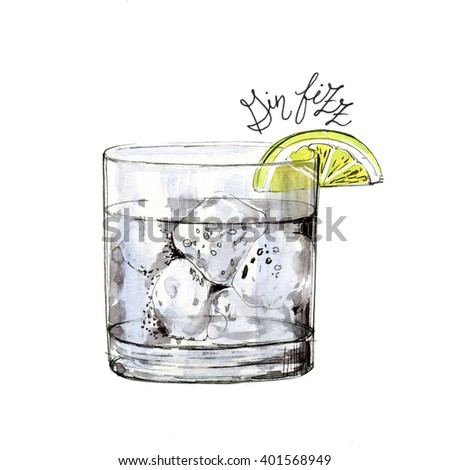 Watercolor  gin fizz cocktail illustration. It can be used for menu, card, postcard, banner, poster.