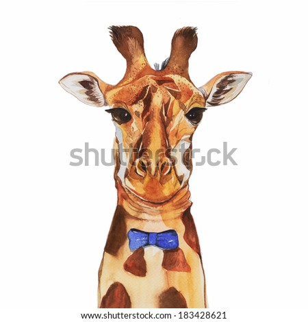 Abstract Watercolor Portraits Watercolor Giraffe Portrait