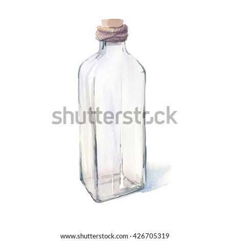 Watercolor glass bottle. Hand painted illustration of glass jar isolated on white background. - stock photo