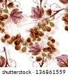 Watercolor Grape Seamless Pattern - stock vector