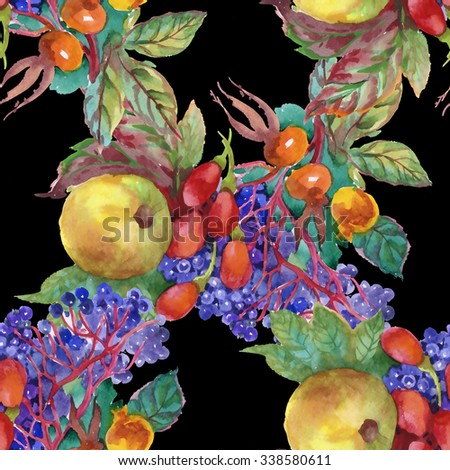 Watercolor grapes, apples and dogwood berries autumn seamless pattern on black background - stock photo