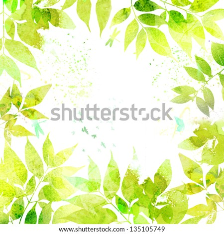 Watercolor green background - stock photo