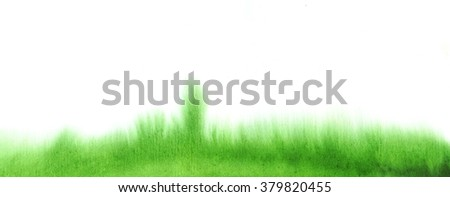 Watercolor green fluid watercolor grass stains texture. Abstract hand painting background on white. - stock photo