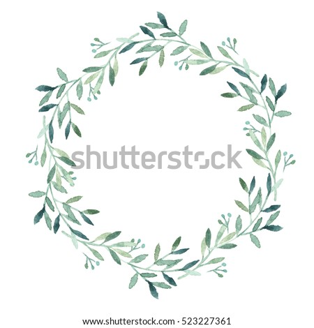 watercolor green leaves wreath stock illustration 523227361