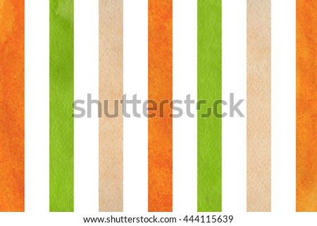 Watercolor green, orange and beige striped background. Abstract watercolor background with green, orange and beige stripes.