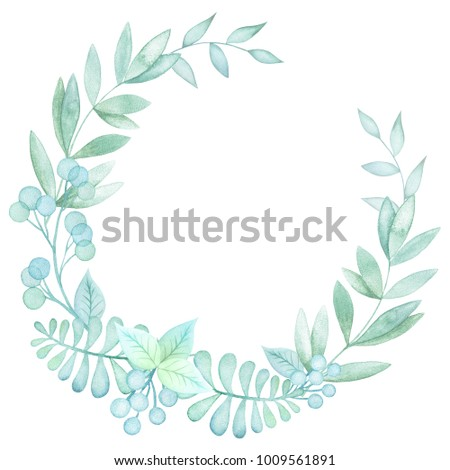 Watercolor Green Wreath Hand Painted Floral Stock Illustration ...
