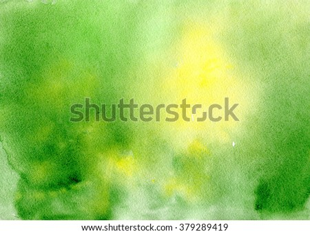 Watercolor green yellow hand drawn background gradient, aquarelle abstract wash drawing blots - stock photo