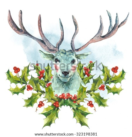 Watercolor greeting card, Snow white deer with Holly, Vintage Merry Christmas and Happy New Year illustration. - stock photo