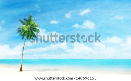 watercolor grunge image of beach - stock photo
