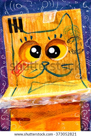 Watercolor hand draw Illustration with yellow cat.  Box - stock photo