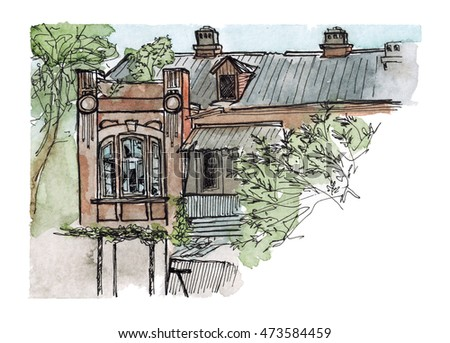 Watercolor hand drawn architecture sketch of old city abandoned house art in bleeding colors on paper