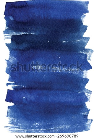 Watercolor hand drawn background in indigo and ultramarine colors.  - stock photo