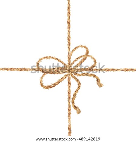 Watercolor hand drawn background with the bow-knot of the linen rope. Tie boxes for gifts. Jute rope with bow watercolor. Twine. Isolated illustration on white background.