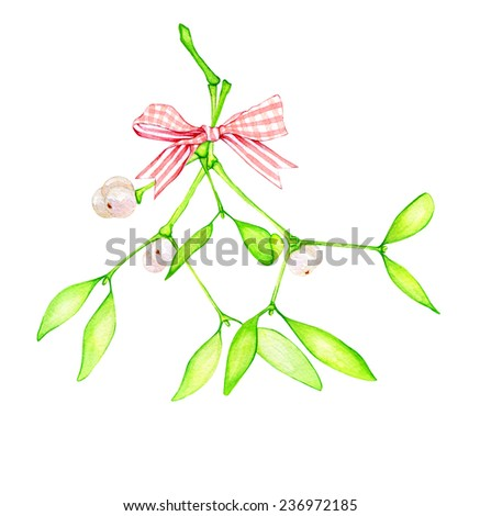 Watercolor hand drawn bouquet of mistletoe branches with berries and striped pink bow. - stock photo