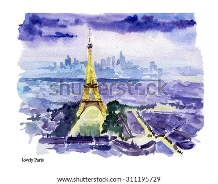 Watercolor hand drawn colorful illustration of Paris city view. Architecture touristic sightseeings. Good for warm memory postcard design, book or article illustration. - stock photo