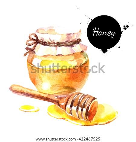 Watercolor hand drawn fresh honey. Isolated organic natural eco illustration on white background - stock photo