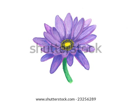Watercolor hand drawn image with water lily - Nymphaea isolated on white