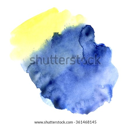 Watercolor hand drawn isolated blue and yellow spot. Raster illustration. Ideal for sites, banners, brochures etc