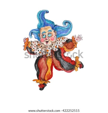 Watercolor hand drawn  isolated clown on white - stock photo