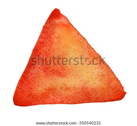 Watercolor hand drawn isolated red, yellow and orange triangle spot. Raster illustration. High resolution. Ideal for sites, banners, brochures, sales etc