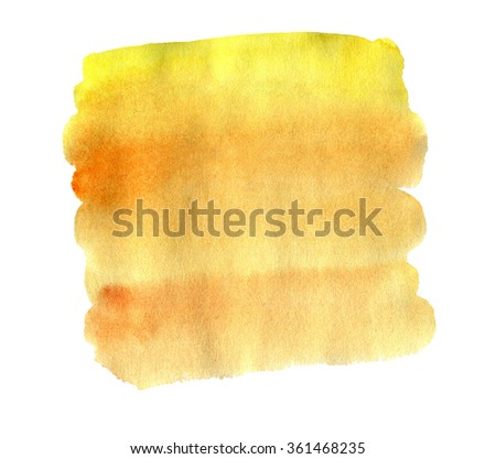 Watercolor hand drawn isolated yellow and orange spot. Raster illustration. Ideal for sites, banners, brochures etc