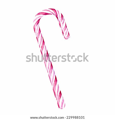 Watercolor hand drawn mint hard candy cane striped in christmas colors isolated on a white background. - stock photo