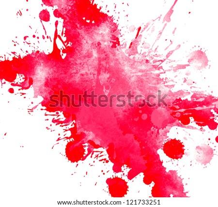 Watercolor hand drawn paint splash - stock photo