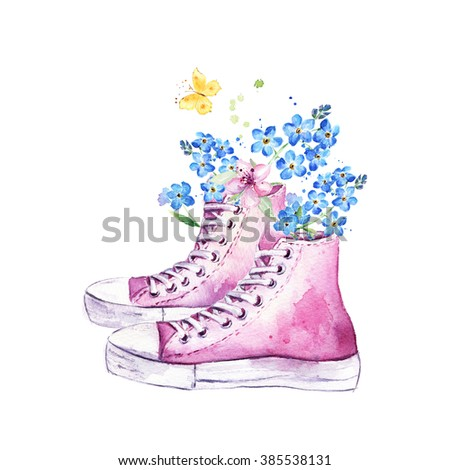 Watercolor hand drawn postcard with sneakers, flowers and butterfly. Spring floral background - stock photo