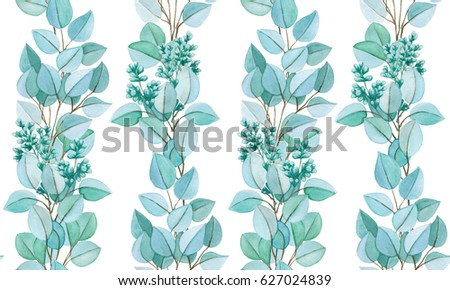 Watercolor hand drawn seamless pattern. Floral seamless pattern painted with watercolor. Hand made retro stylized seamless pattern. Eucalyptus branches seamless watercolor pattern.