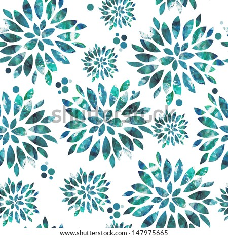 watercolor hand drawn seamless pattern from floral ornament - stock photo