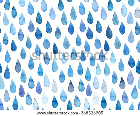 Watercolor hand drawn seamless pattern with raindrops. - stock photo