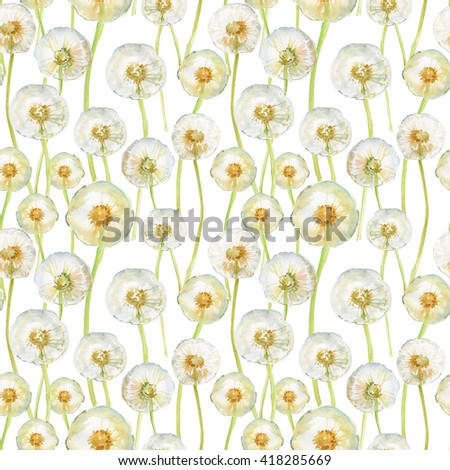 Watercolor hand drawn seamless pattern with spring tender flowers - dandelions on the white background - stock photo