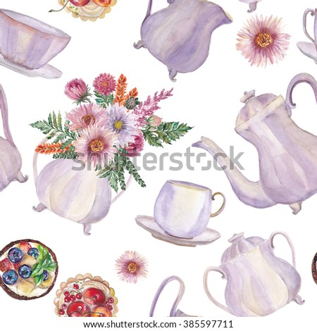 Watercolor hand drawn seamless pattern with vintage Porcelain teapot, sugar bowl, cups, flowers and desserts. Tea party collection. - stock photo