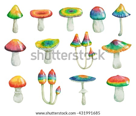 Watercolor hand drawn set of colorful, bright, psychedelic mushrooms.  - stock photo