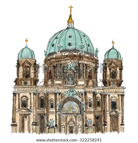 Watercolor hand drawn Sketch illustration architecture landmark of Berliner Dom Germany Berlin isolated