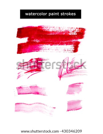 Watercolor hand drawn watercolor paint strokes, artistic colorful paint drops isolated on white background. Ink drawing. Logo backdrop template. - stock photo