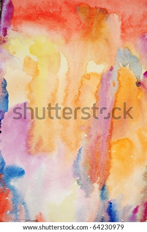 Watercolor hand painted art background for scrap-booking - stock photo