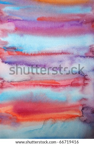 Watercolor hand painted art background for scrapbooking design, created by me - stock photo