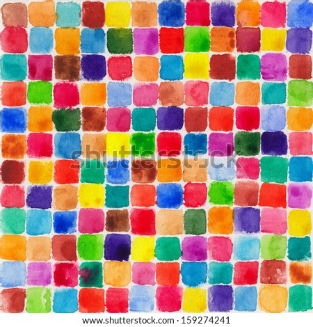Watercolor hand painted background with colorful blocks - stock photo