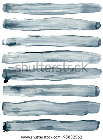 Watercolor hand painted brush strokes are Isolated on a white background. - stock photo