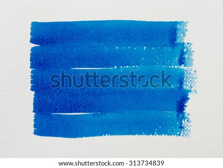Watercolor hand painted brush strokes background on white paper. - stock photo
