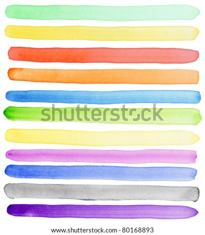 Watercolor hand painted brush strokes, banners. Isolated on white background.