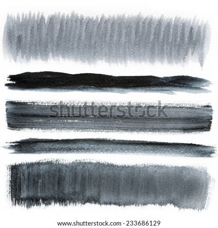 Watercolor hand painted brush strokes, Black banners. Isolated on white background. - stock photo