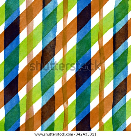 Watercolor hand painted brush strokes, bright red, green and yellow colorful striped background, Abstract bright colorful watercolor background, brown Checkered pattern - stock photo