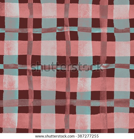 Watercolor hand painted brush strokes, brown, red and blue, black striped background, Abstract bright colorful watercolor background, Checkered pattern. - stock photo