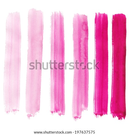Watercolor hand painted brush strokes. Colorful vertical banners on white background.  - stock photo