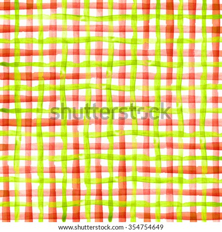 Watercolor hand painted brush strokes, green and red, yellow striped background, Abstract bright colorful watercolor background, Checkered pattern. - stock photo