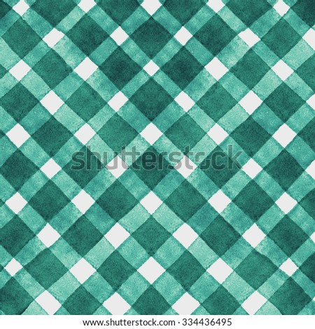 Watercolor hand painted brush strokes, green and white striped background, Abstract bright colorful watercolor background, green Checkered pattern - stock photo