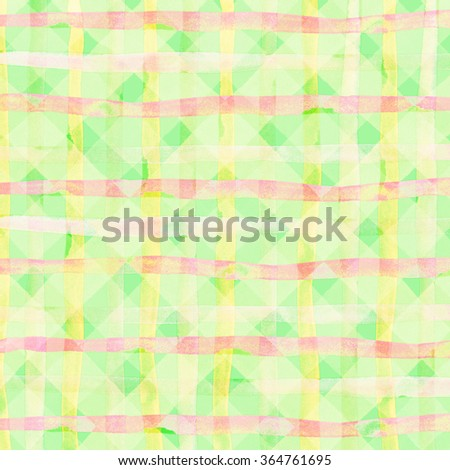 Watercolor hand painted brush strokes, green, yellow striped background, Abstract bright colorful watercolor background, Checkered pattern. - stock photo