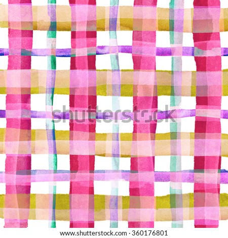 Watercolor hand painted brush strokes, pink and purple striped background, Abstract bright colorful watercolor background, Checkered pattern. - stock photo